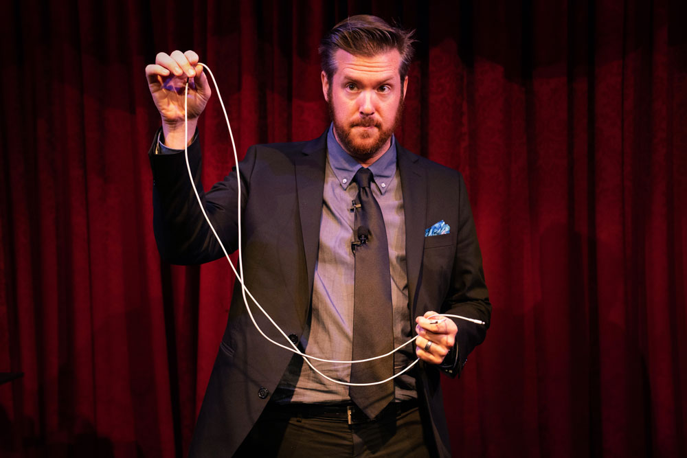 Bryan Saint performs his nationally known phone charger magic trick at the Magic Castle in Hollywood