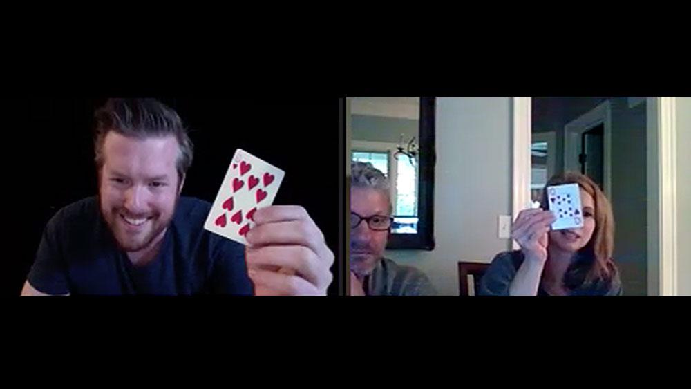 Bryan Saint does a card trick during virtual magic show