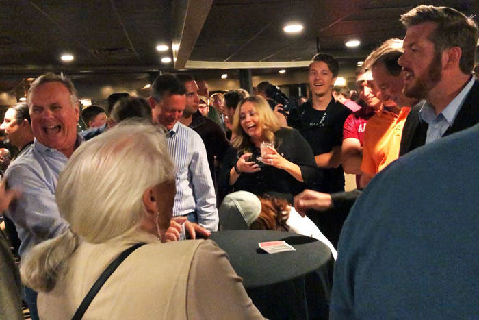 Magician Bryan Saint performing at the Knoxville TN Sunsphere