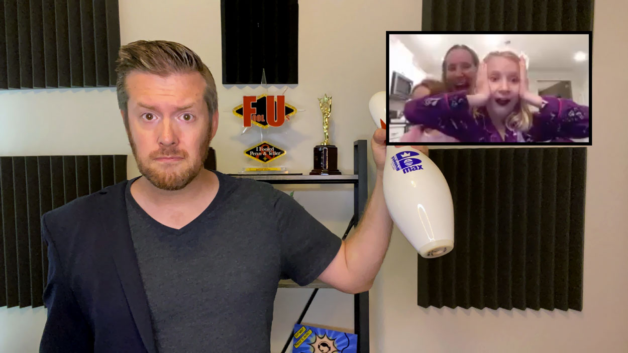 Bryan Saint surprises a family with a bowling pin during a virtual magic show!