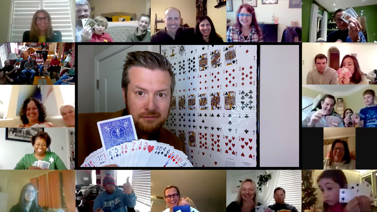 Virtual Magician Bryan Saint creating a miracle with cards in everyone's own hands!