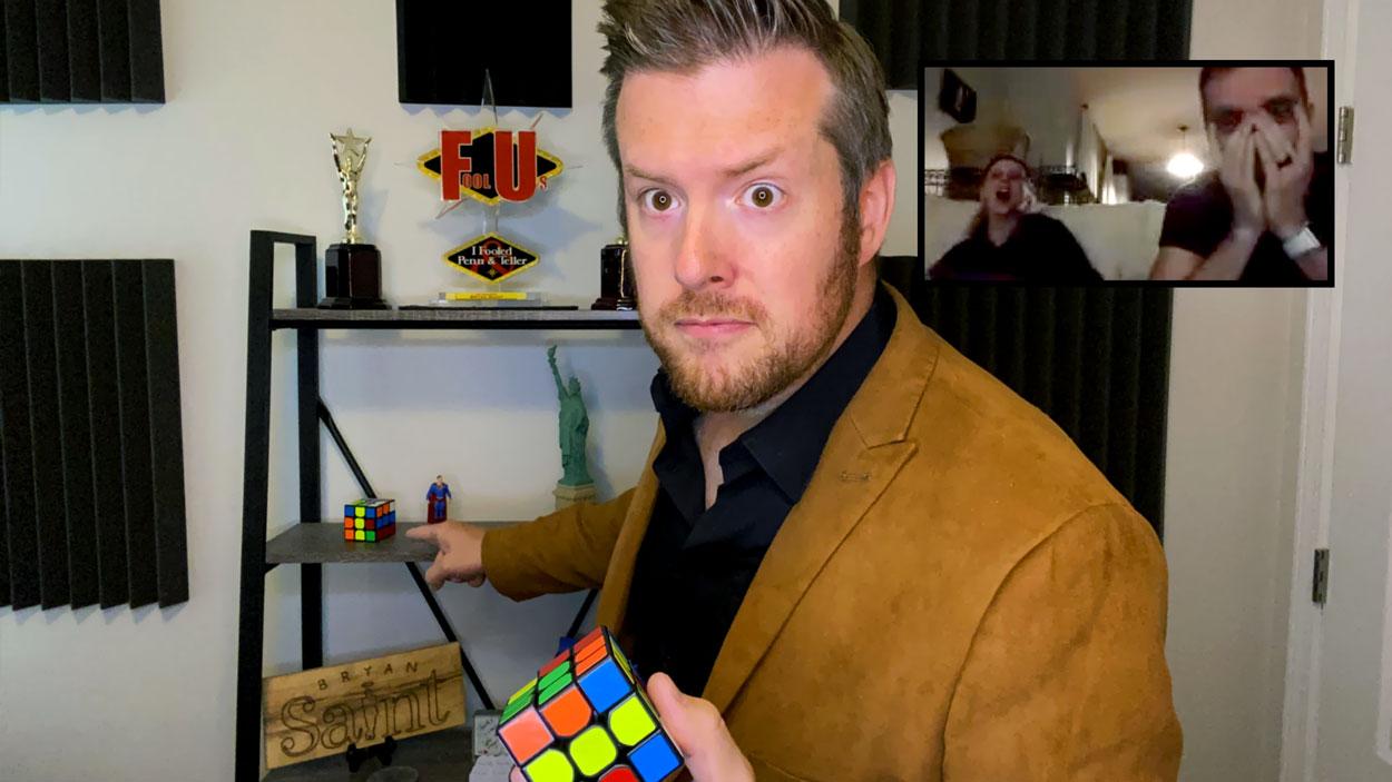 Bryan Saint shocks a couple with a Rubik's cube during a virtual magic show!
